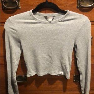Grey Calvin Klein long sleeved crop top